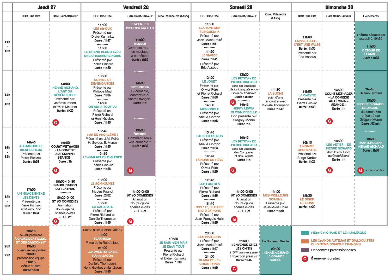 grille programmation Festival CineComedies 2018