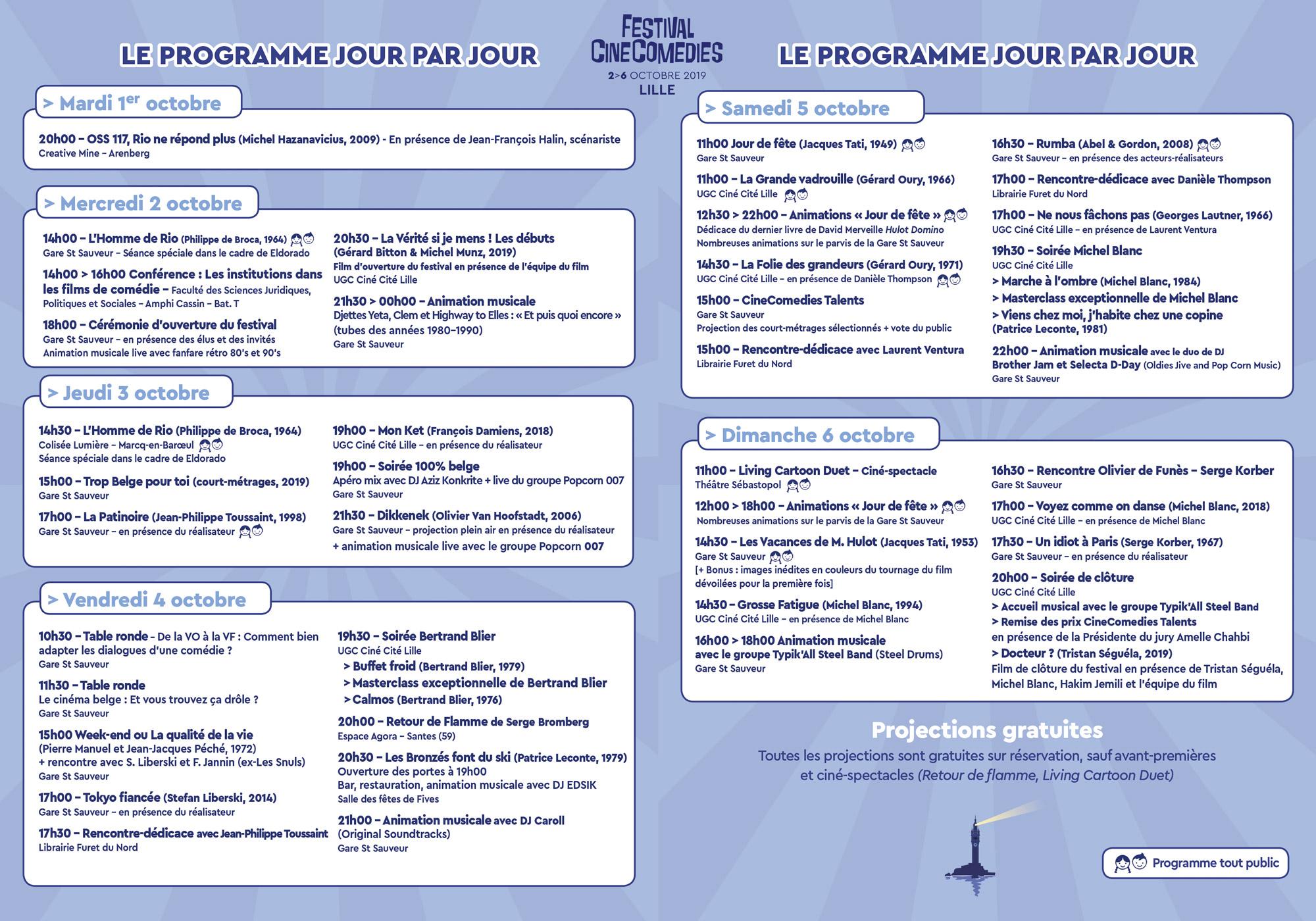 Programme Festival CineComedies 2019