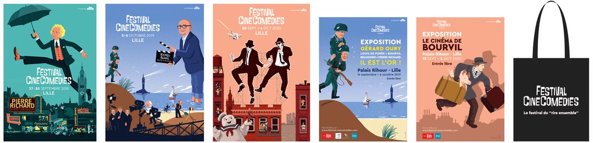 Lot d'affiches + Tote Bag Festival CineComedies