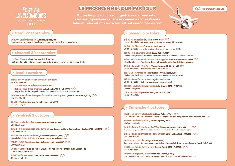 Festival CineComedies 2020 - Programmation jour par jour