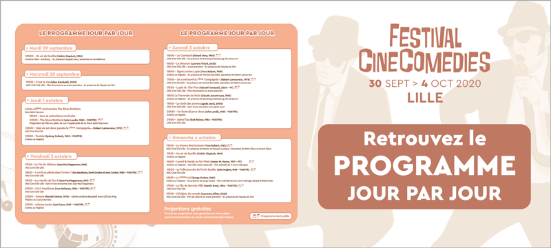 Programmation du festival CineComedies 2020