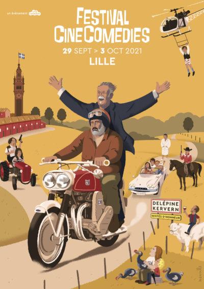 Affiche du Festival Cinecomedies 2021 - Illustration : David Merveille